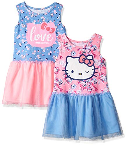 Hello Kitty Toddler Girls 2 Pack Embellished Dresses, Pink/Blue 3T