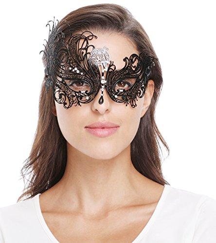 Bellady Mask Women's Metal Filigree Laser Cut Venetian Masquerade Mask ,Style2_Black