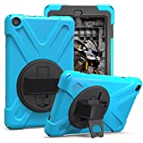 New HD 8 Tablet Case, Heavy Duty Hybrid Shockproof Protection Cover Built with Kickstand and Hand Strap for HD 8 Tablet (7th and 8th Generation Tablets, 2017 and 2018 Releases)(Sky Blue)