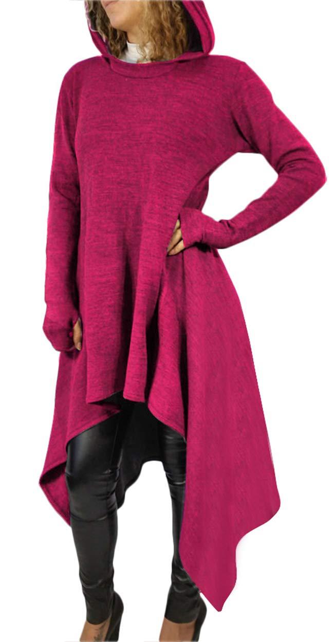 huijdew Women Autumn Winter Fashion Slim Fit Sweater Dress V-Neck Solid Color Long Sleeve Dress