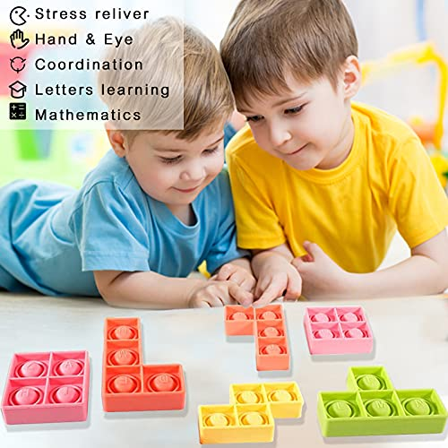 Push Bubble Fidget Toy, 10 Pcs Tetris Jigsaw Puzzle Silicone Stress Toys for Autism Special Needs Anxiety Reliever Kids Children Adults
