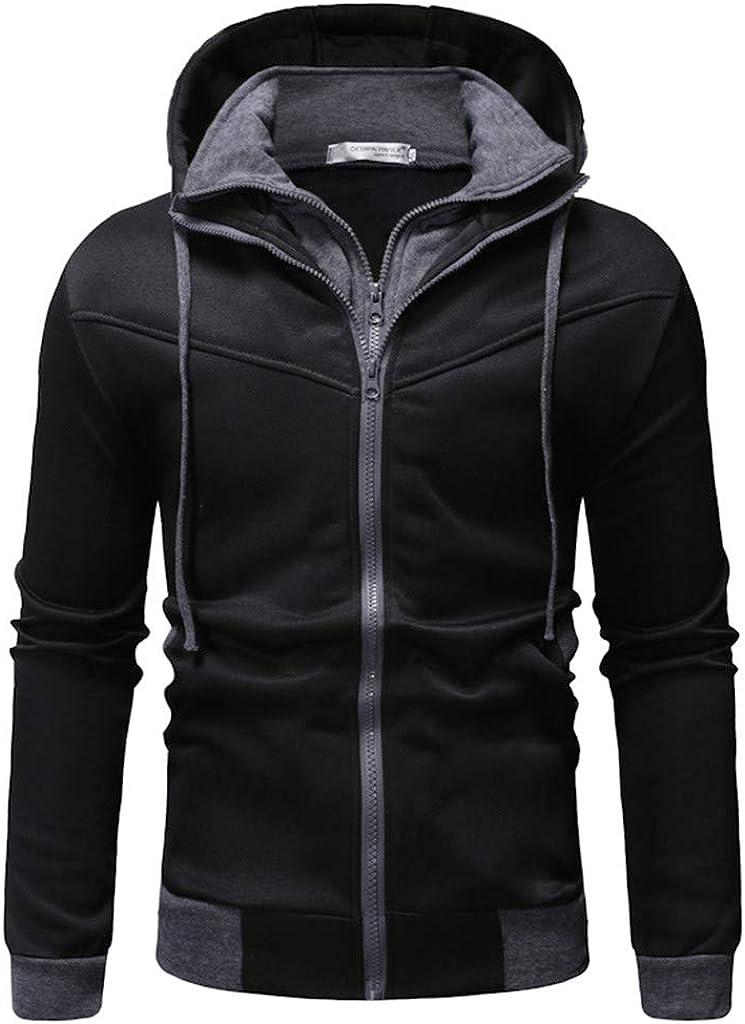 Cuekondy Casual Turtleneck Hooded Sweatshirt Color Block Cool Hoodies Long Sleeve Tops Dyes Print Loose Drawstring Pullover