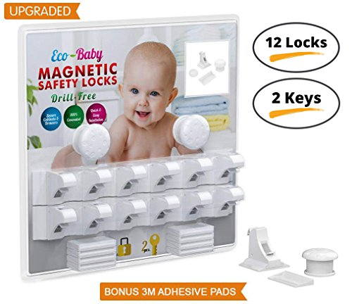 Baby & Child Proof Cabinet & Drawers Magnetic Safety Locks By Eco Baby Heavy Duty Locking System (12 (Magnetic Cabinet Locks)
