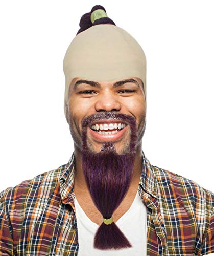 Aladdin Genie Wig with Beard and Mustache Set | Burgundy TV/Movie Wigs