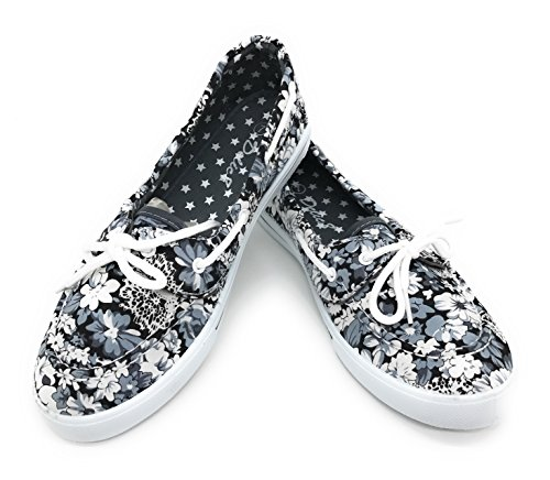 Blue Berry EASY21 Canvas Schnürschuh Flacher Slip on Boot Bequemer Toe Sneaker Tennisschuh Graue Blumen