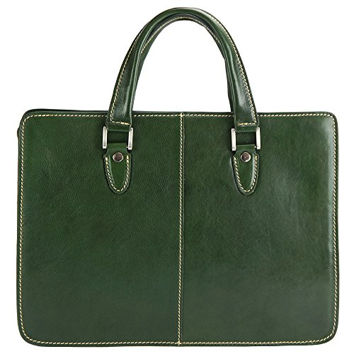 Rolando Tote bag in stylish calf leather - 7629 - Leather Bags (Dark green)