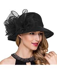 6b47a2d4f9d Lady Church Derby Dress Cloche Hat Fascinator Floral Tea Party Wedding Bucket  Hat S051