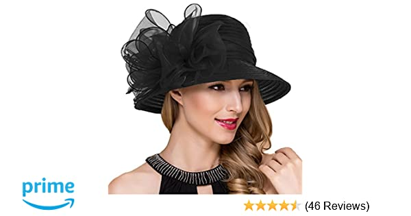 56bb6e3a4bc Lady Church Derby Dress Cloche Hat Fascinator Floral Tea Party Wedding  Bucket Hat S051 (Black) at Amazon Women s Clothing store