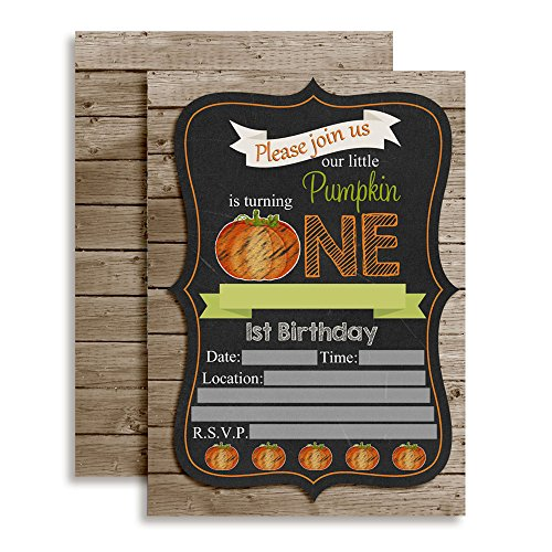 Chalkboard Pumpkin First Birthday Party Invitations, Ten 5