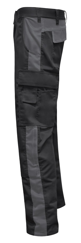 Tasca per Ginocchiere KERMEN Made in EU Pantaloni da Lavoro Berlin PRO Bottone YKK Nero-Grigio 24 Cerniera Lampo YKK