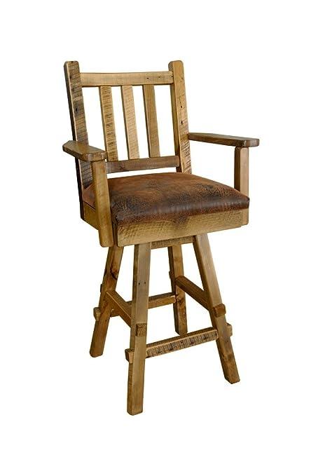 Fabulous Amazon Com Reclaimed Barn Wood Swivel Bar Stool With Back Pdpeps Interior Chair Design Pdpepsorg