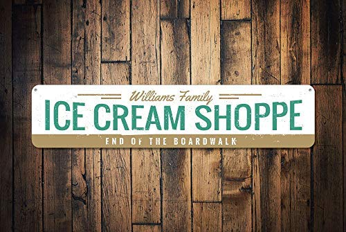 - HarrodxBOX Ice Cream Shoppe Sign Personalized Family Name Sign Custom End of The Boardwalk Sign Beach House Decor Metal Tin Signs for Home Decor Wall Post Housewarming Gift