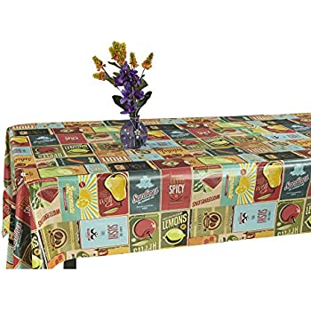 Ottomanson Vintage American Design Vinyl Indoor U0026 Outdoor Non Woven Backing  Kitchen Picnic Tablecloth,