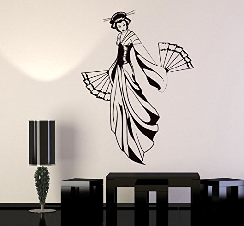 BorisMotley Wall Decal Geisha with Fan Japanese Girl Vinyl Removable Mural Art Decoration Stickers for Home Bedroom Nursery Living Room Kitchen