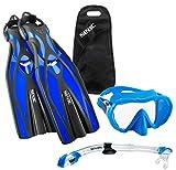 SEAC Frameless Scuba Mask Fin Snorkel Set, Blue, Small/Medium