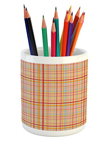Lunarable Abstract Pencil Pen Holder, Funk Art Retro Candy R