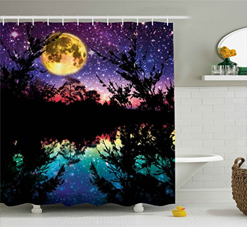 Ambesonne Fabric Shower Curtain Nature Artwork Decor, Lake at Moon Light Stars Sky and Trees Water Reflection Contemporary Modern Theme, Purple Yellow Fuchsia Black Teal Blue Dark Colors -