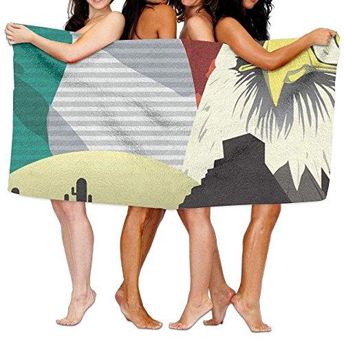 Mexican Bird Eagle Flag Cactus Print Swim Towel by Cap shorts