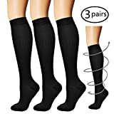 Compression Socks,(3 pairs) Compression Sock for Women & Men - Best For Running, Athletic Sports, Crossfit, Flight Travel black l/xl