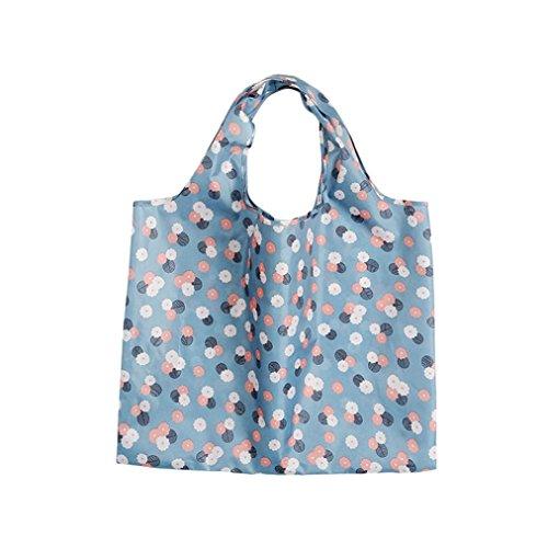 Hunpta@ Women Shopping Travel Shoulder Bags Folding Eco Grocery Handbag Tote Pouch Bag (E) A