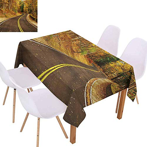 UHOO2018 Fall,Everyday Kitchen Tablecloth,Autumn Scene with Curvy Road in The Forest at Letchworth State Park New York City USA,Assorted Sizes & Colors,Multicolor,70