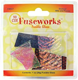 Fuseworks 1-Ounce Dichroic Bits and Pieces 90 COE Fusible Glass, Assorted Colors