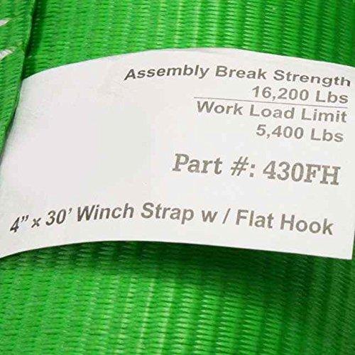 Box of 10 Winch Straps 4X30 W//Flat Hook