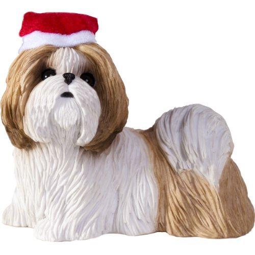 Tzu Shih Ornaments White (Sandicast Gold and White Shih Tzu with Santa Hat Christmas Ornament)