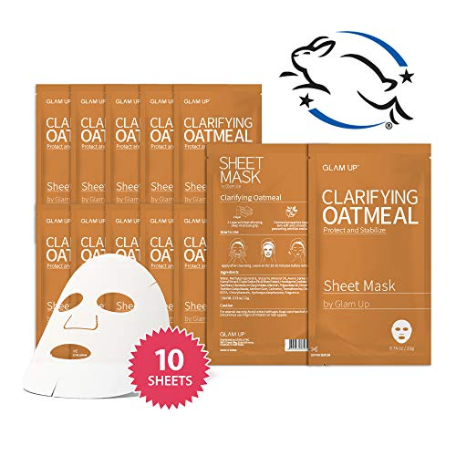 Sheet mask by glam up BTS Clarifying Oatmeal - Nourishing and Moisturizing, Softening Dull Tired Skin Nature made Freshly packed Daily Skin Therapy Original K-Beauty Recipe x 10ea (Oatmeal And Honey Face Mask For Acne)