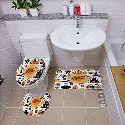 Bath mat set Round-Shaped Toilet Mat Area Rug Toilet Lid Covers 3PCS,Halloween Decorations,All Hallows Day Objects Haunted House Owl and Trick or Treat Candy,Orange Black ,Bath mat set Round-Shaped To]()