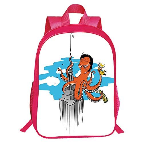 Diversified Style Red Double-Deck Rucksack,Octopus Decor,Retro Cartoon Octopus Illustrated as King Kong on Empire State Building and Lady in Tentacles,Multi,for Kids,Print Design.15.7