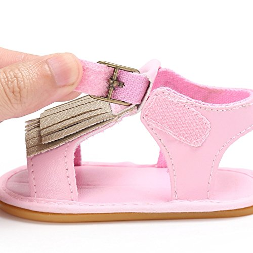 Sandalias De Bebe,BOBORA Prewalker Zapatos Primeros Pasos Para Bebe Borlas PU Bebe Suelas De Goma Sandalias rosa