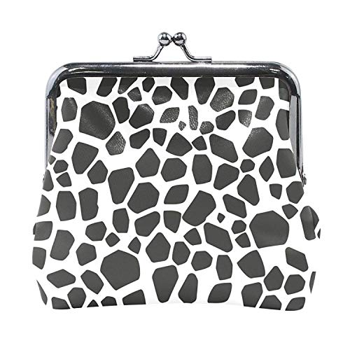 Coin Purses Black And White Giraffe Skin Kiss-lock Buckle Vintage Clutch Cosmetic Bags