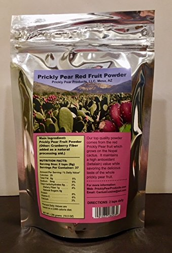 Prickly Pear Red Fruit Powder (with Cranberry Fiber): 1 Resealable Mylar Bag has a 37 day supply with 2 teaspoons daily dosage. (Net Weight 10.5 ounces = 298 grams)