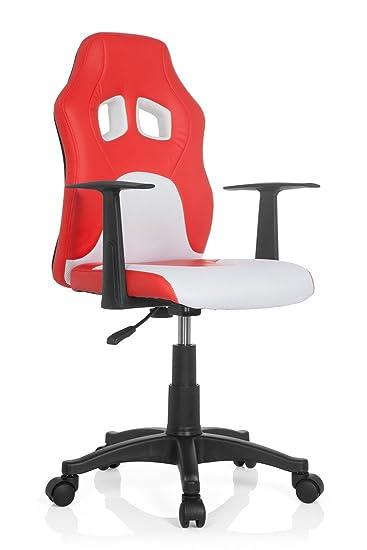 Kinderschreibtischstuhl mit armlehne  hjh OFFICE 670760 Kinderschreibtischstuhl TEEN RACER AL rot / weiß ...