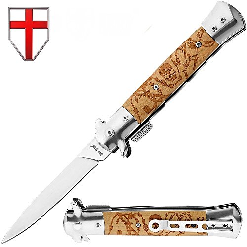 Dagger Blade Folding Pocket Knife - Wood Handle - Everyday Self Defense Knife - Good for Fighting, Hunting and Camping - Tactical Military Knife - Italian Style Knife - Grand Way 6687 W