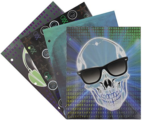 Emraw Laminated Fashion Skulls 2 Pocket File Portfolio Folder - Used for Papers, Loose-Leafs, Business Cards, Compact Discs, Etc. (4-Pack)
