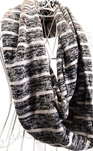 Black and White Light Weight Knit Stripe Infinity Scarf
