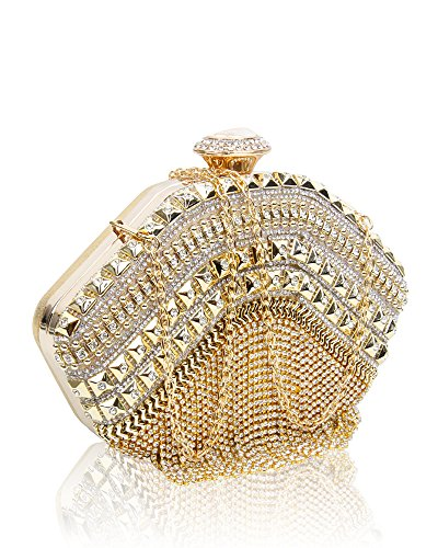 Women Bag For Wedding Purse 5cm Gold Tassel 21x16x5 With Diamante And Prom Rhinestones Size Hardcase Bridal Crystals Redfox Evening Clutch Party qXS0Y