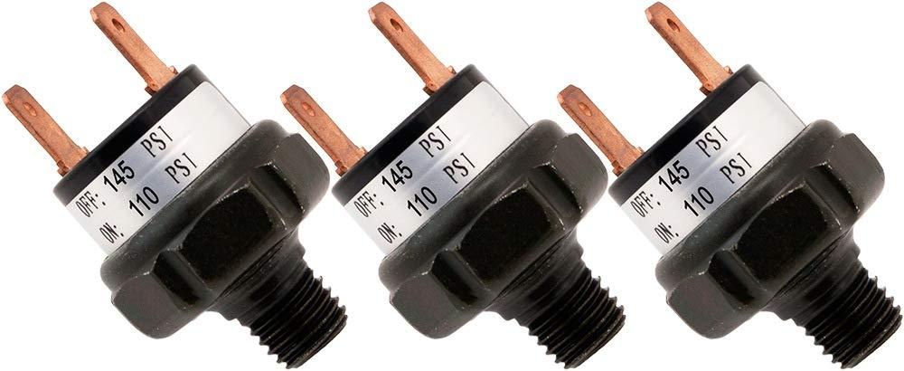 Vixen Horns 110-145 PSI Air Pressure Switch Tank Mount Type 1/8' NPT 12V/24V for Train/Air Horn - Bundle of Three switches VXA6145-3