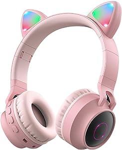 Wireless Bluetooth Kids Headphones, Aresrora Kitty Bluetooth Over Ear Headphones Volume Limiting,LED Lights, FM Radio, TF Card, Aux, Mic for iPhone/iPad/Kindle/Laptop/PC/TV (Pink)