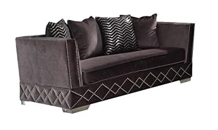 Remarkable Major Q 74 L Contemporary Style Modern Charcoal Velvet Elegant Wood Frame Metal Leg Sofa With 4 Accent Pillows 9054261 Bralicious Painted Fabric Chair Ideas Braliciousco