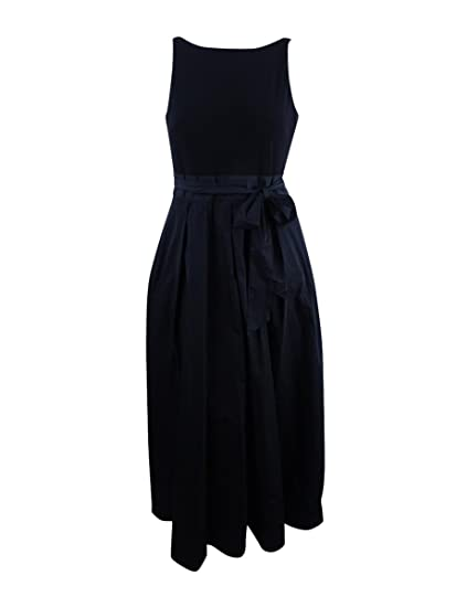 be859e3544252 Ralph Lauren Womens Black Belted Sleeveless Boat Neck Maxi A-Line Evening  Dress Size: 14: Amazon.co.uk: Clothing