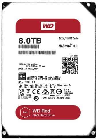 WD Red 8TB NAS Hard Disk Drive - 5400 RPM Class SATA 6 Gb/s 128MB Cache 3.5 Inch - WD80EFZX