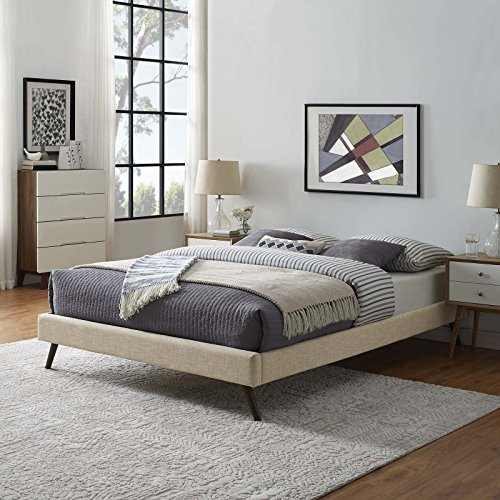 Modway MOD-5889-BEI Loryn Fabric Bed Frame with Round Splayed Legs, Full, ()