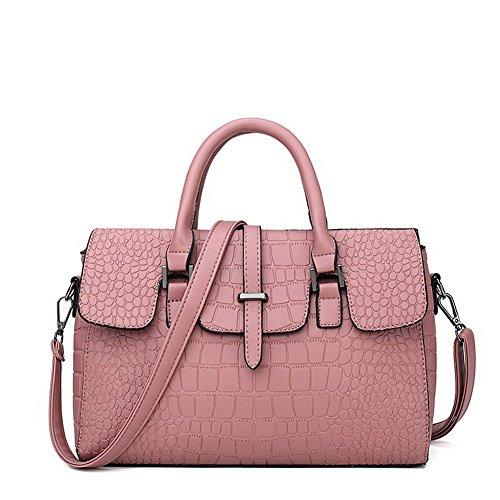 VogueZone009 Donna Shopping Borse a tracolla Tote-Style Casuale Borse a tracolla,CCALBP181262,Rosso Rosa