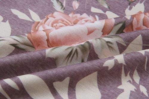 Imprim 2017 Mini Floral Manche Casuel Rond Tunique ASSKDAN T Automne Col Shirt Pourpre Longue Robe wXOxqZRZ