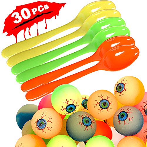 (30 Pack Egg and Spoon Race Game Set Halloween Birthday Party Favors with 6 Spoons and 24 Bounce Eye Balls for Kids and)