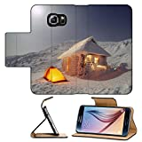 Luxlady Premium Samsung Galaxy S6 Flip Pu Leather Wallet Case IMAGE ID 21531017 High in the mountains of the Carpathians are houses for tourists who are blocked with snow in w