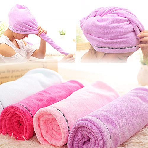 BEESCLOVER New 5824CM(Microfiber Towel Drying Turban Wrap Towels Hat Cap Hair Dry Quick Dryer Bath Salon Towel W3 Blue